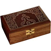 Hecho a mano joyero madera tallada original regalos para mujer