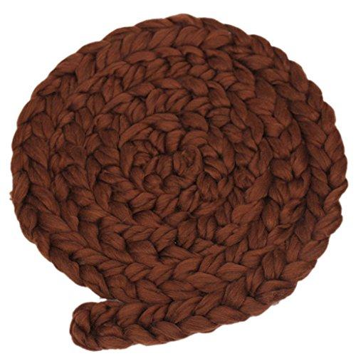 Kostüm Baby Kaffee - Neugeborene Baby-Roving Braid Wolle Spinnen Faser-Teppiche Fotografie Props Blau - Kaffee, XL