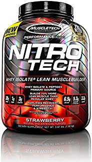 MuscleTech NitroTech Protein Powder Plus Muscle Builder, 100% Whey Protein with Whey Isolate, Strawberry, 40 S