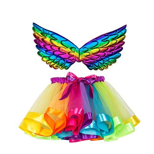 Andouy Mädchen/Baby Tutu Tüll Ballett Rock Prinzessin Ankleiden Tanzen Tragen mit Flügel Zubehör(M.Mehrfarbig)