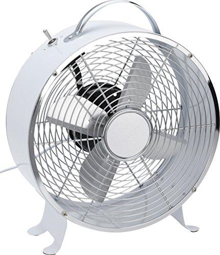 Weisser Retro Tischventilator. Vollmetal, Ventilator Geschwindigkeit in 2 Stufen schaltbar.
