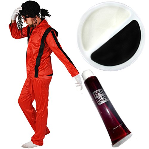 Thriller Jacke M Kostüm Jackson - ZOMBIE JACKO KING OF POP-ERWACHSENE FANCY DRESS DAMEN KOSTÜM HALLOWEEN FACEPAINT AXT MIT BLUT, AUS HOSE UND JACKE, ROT, HALLOWEEN POPSTAR-SET (S BIS XL)