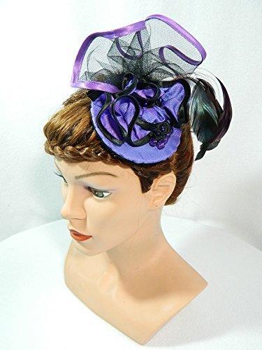Fascinator lila Minihat Headpiece Anlasshut Damenhut Burlesque Karneval Silvester Partyhut Hütchen Showgirl Swing