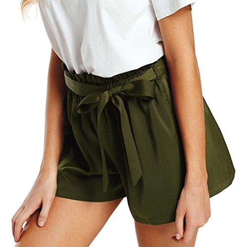 Btruely-Shorts Damen Sommer Kurze Hosen Damen Lässige Design Hohe Taille Lose Modische Shorts Frau mit Gürtel (Asia Größe S, Z Armeegrün)