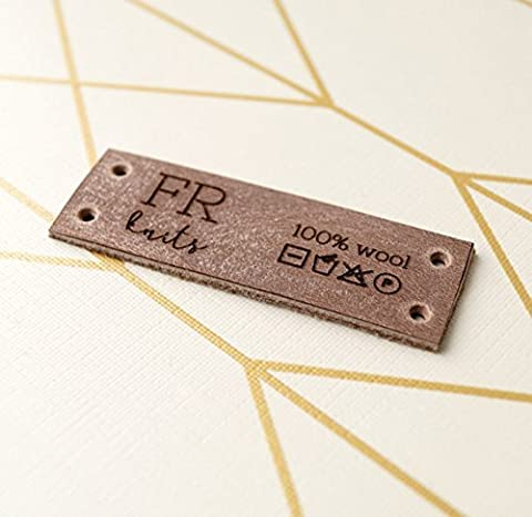 Personalized center fold leather labels, custom clothing labels, leather labels, care instructions labels,personalized label tags, set of