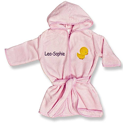 Baby Kinder Bademantel mit Namen bestickt rosa gelb hellblau grün beige 80/92 92/104 104/116 116/122 (116 bis 122, rosa)