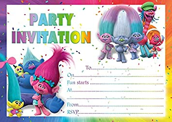X Trolls Children Birthday Party Invitations Amazoncouk - Birthday party invitation uk