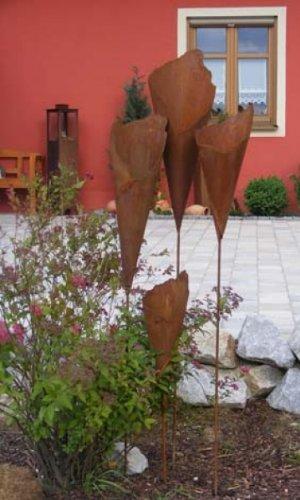 Edelrost Pflanztüte Rosttüte 60cm mit Stab/Gartenstecker mit Pfiff
