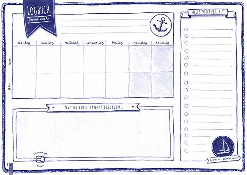 Schreibtischunterlage aus Papier 'Logbuch' | Kinder & Erwachsene | DIN A2 | 40 Blatt |...