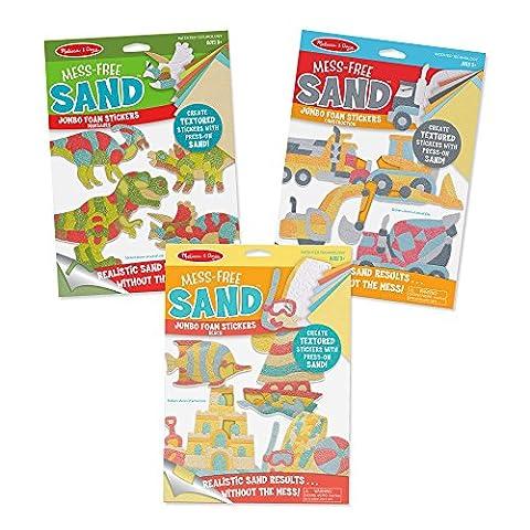 Melissa & Doug Mess-Free Sand Jumbo Dinosaurs/Construction/Beach Foam Stickers (3 Pack)