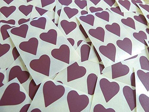 22x20mm Granate Con Forma De Corazón Etiquetas, 90 auta-Adhesivo Código De Color Adhesivos, adhesivo Corazones para Manualidades y Decoración