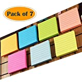 A+Selected - Blocs de notes adhésives avec lignes 7,6 x 7,6 cm - Petites notes carrées couleur fluo - Lot de 7 blocs, 80 feuilles par bloc
