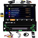 Single DIN im Schlag-Auto Stereo Head Unit 7-Zoll-Flip Out kapazitiven Touch Screen Monitor Audio Video-Receiver-System GPS Navigation, Radio, Bluetooth, Mikrofon, USB Micro SD Kartenleser + Wireless