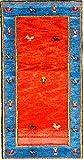 Morgenland Gabbeh Teppich 132 x 73 cm Wollteppich Rot Handgeknüpft Modern