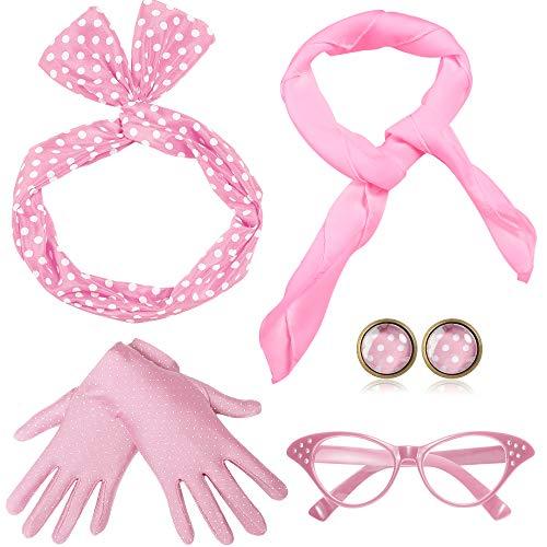 Rockabilly Kostüm Accessoires Damen 1950s Zubehör Set Inklusive Polka Dots Bandana Haarband Ohrringe Handschuhe Katzenaugen Sonnenbrille Chiffon Schal (Pink) ()