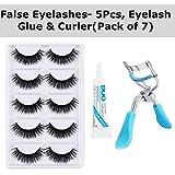 RTB False 5 Pieces Eyelashes with Eyelash Glue and Eyelash Curler (Black) Pack of 7