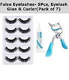 False Eyelashes-Set of 5 with Eyelash Glue & Eyelash Curler Free