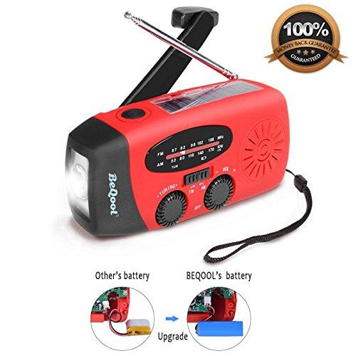 BEQOOL Solar Radio Handkurbel Radio AM/FM LED eingebaute Powerbank Wandern Camping Outdoor Notfall-Einsatz Kurbelradio