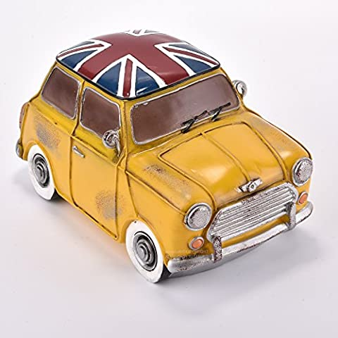 Amazlab Yellow Mini Cooper Bedside lamp Lantern, Warm White Glow, USB or Battery Powered, with 4 Hours