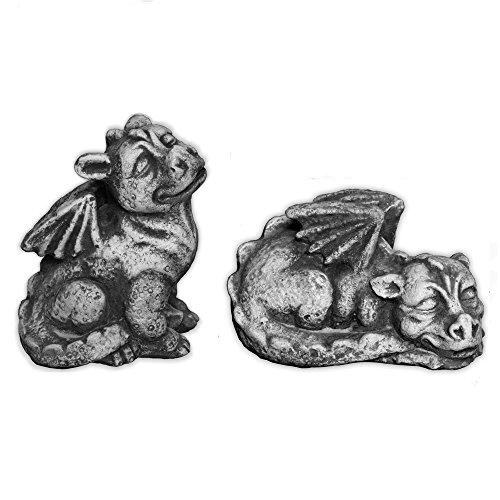 gartendekoparadies.de Lustiges Drachen Doppel Mini Massive Steinfiguren aus Steinguss frostfest