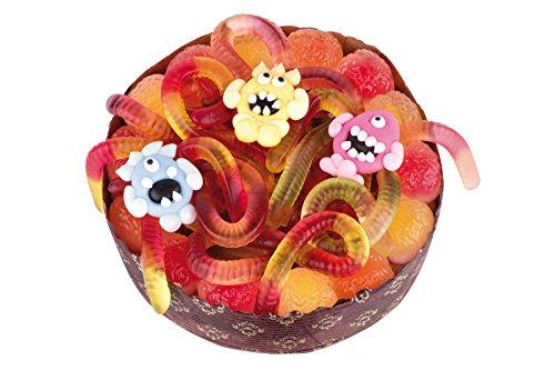 Fruchtgummi-Torte mit Monstern. Für eine gruselige Mottoparty eignet sich perfekt die Monster-Torte aus süßen und sauren Monstern, Würmern und Fröschen, 370g