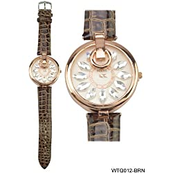 Rose Gold Coloured Bezel Round Shaped Face Watch with Brown Strap