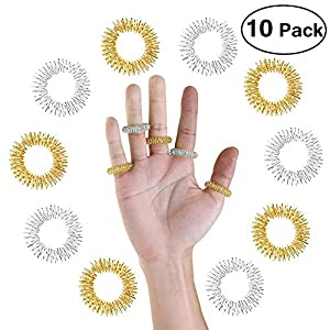 Tolyneil 10 stücke Massage Ring, Finger Massage Ring Mini Finger Akupunktur Frühling Ring Finger Zirkulation Ringe