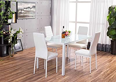 Designer Rectangle Glass Dining Table Set and 4 White Faux Leather Chairs Seats - inexpensive UK light shop.