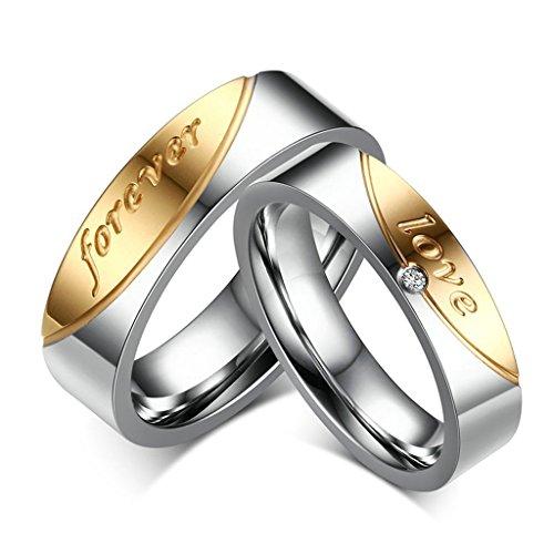 Edelstahl Silber Gold Zwei Tone CZ Paare Ring Set mit Love Forever Damen 60 (19.1) & Herren 67 (21.3) (Zwei-ton-herren-ehering)