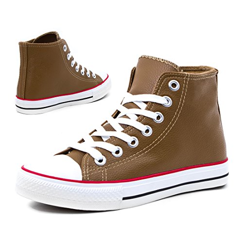 Marimo Klassische Unisex Damen Herren Schuhe High Top Sneaker Turnschuhe in Lederoptik Khaki