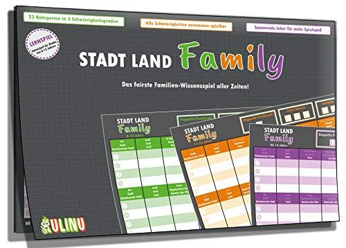 Stadt, Land, Family - Das fairste Familienspiel Aller Zeiten - Stadt-Land-Fluss Lernspiel für Kinder ab 8 Jahren - Quiz Spiel Geschenk-Idee für den Spieleabend ()