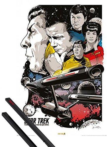 Poster + Sospensione : Star Trek Poster Stampa (91x61 cm) 50 Anni, Dove Nessun Uomo È Mai Giunto Prima E Coppia Di Barre Porta Poster Nere 1art1®