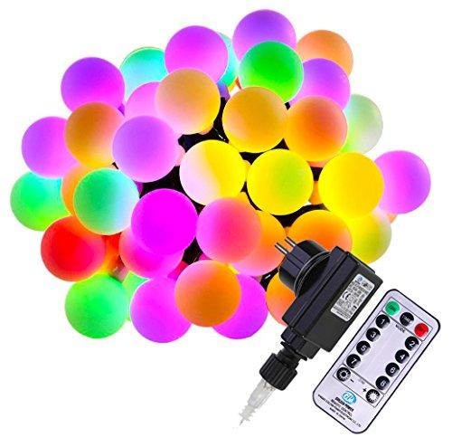 Yogada LED Kugel Lichterkette 100er Fernbedienung Timer 13M Mehrfarbig 8 Modi mit Memory Funktion für Feste, Weihnachten, Partys und Hochzeit äußere Dekoration (Bunt)
