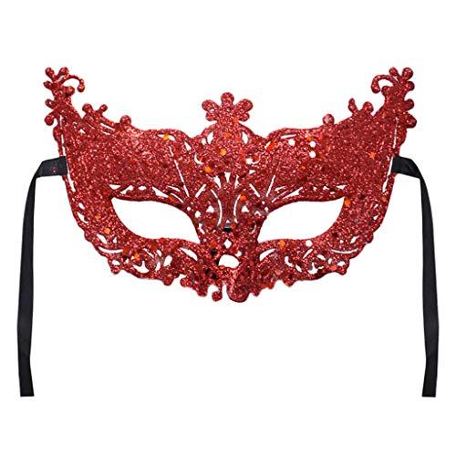 iYmitz Karnevals Maske Venezianische Maskerade Schmetterling Grimasse Masken Karneval Spitze Party Fasching Kostüm Halloweenmaske(Rot,One size)