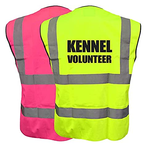 Hi Vis Kennel Volunteer Pink and Yellow K9 Vest Waistcoat Safety Reflective Canine Jacket Plus a Brook Hi Vis UK Discount Code for your next