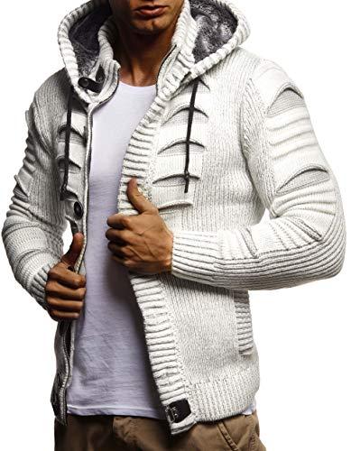 LEIF NELSON Herren Strickjacke | Elegante Freizeitjacke Kaputze | Männer Jacke Slim Fit | LN5605;S;Ecru-Grau Shirt Jeans Weste Jacke