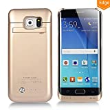 COOLEAD 4200mAh Battery Case Power Charger Case Rechargeable Backup Portable External Power Pack for Galaxy S6 Edge with Kickstand Support Short Protection (Gold)