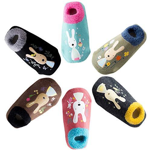 De feuilles Lot de 6 Chaussette Bébé Enfant Anti-dérapan Sock Motif Imprimé Animaux Chaussures Premiers Pas Mignon Souple