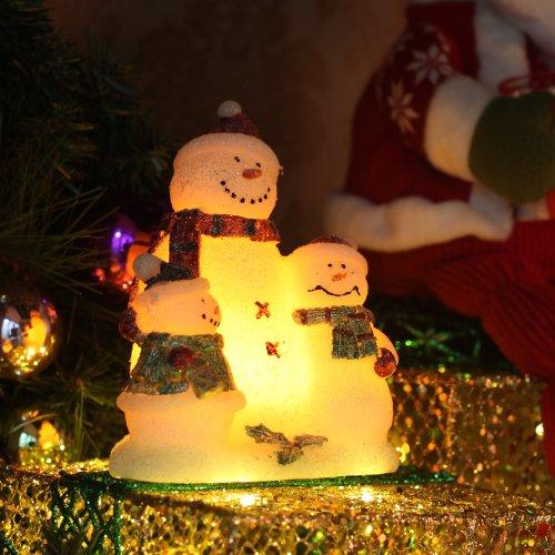 Velas de Navidad conjunto Blanco Navidad Snowmans Partido Familia Set Decoraciones Lámpara, Cera Real, Lovely Snowmen Familia en forma, 4 y 8 horas de tiempo, con pilas, Blanco