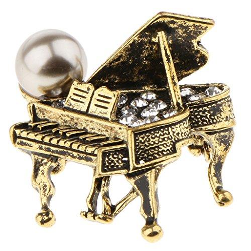 Homyl 1 Stück Brosche Klavier Stil Kleidung Dekoration Brosche Schmuck Frauen Zubehör Brooch - Antikes Messing - Messing Antik Klavier