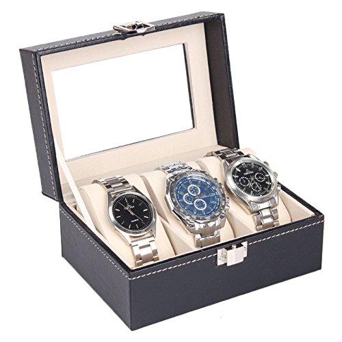 HOYOFO 3 Slots Luxus Leder Display Armbanduhr Aufbewahrungsbox mit Glas Fenster, Schmuck Fällen