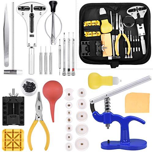ETEPON Uhrenwerkzeug Set 18-teilig Uhren Reparatur Set Profi Uhrmacherwerkzeug Uhr Reparatur Werkzeug mit Nylontasche Schwarz ET017