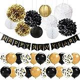 HappyField 41 PCS Schwarz Gold Frohes Jahr Dekorationen Set Frohes Jahr Banner 12 Zoll Latex Ballons Tissue Pom Poms Blumen Papierlaternen für Silvester Party Dekorationen 2019