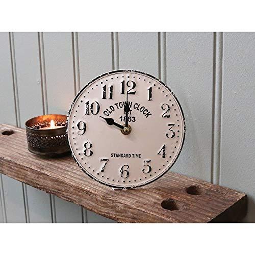 Chic Antique Reloj de Mesa Blanco Crema Antiguo Town Reloj Metal Nuevo...