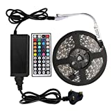 TN Cow LED Strip Lights Kit 16.4ft/5M Flexible Waterproof IP65 3528 RGB 300 LEDs 12v Light Full Kit RGB LED Strips Lighting With 44Key Mini IR Remote and DC 12V 3A Power Adapter Supply for DIY Party Decoration Home Kitchen Cabinet Closet Party KTV Studio Wedding Girls Room Decoration and Indoor Outdoor Use