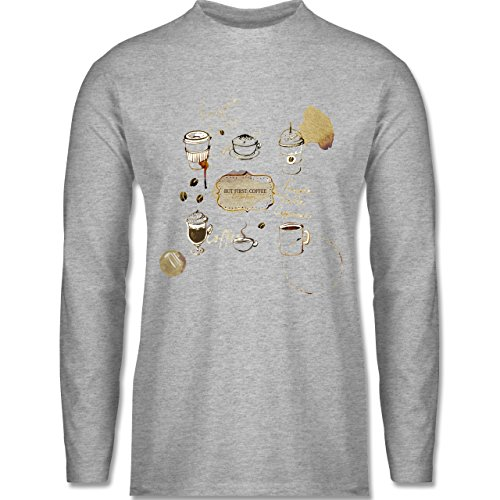 Shirtracer Statement Shirts - But First: Coffee Wasserfarben - Herren Langarmshirt Grau Meliert