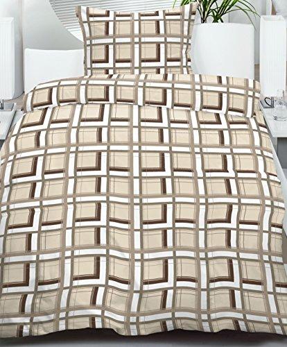 Biber Winter Bettwäsche, Übergröße: 155 x 220 + 80x80cm, beige braun weiss kariert, 100% Baumwolle (40076)