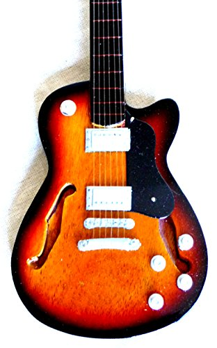 Guitarra en miniatura decorativa Guitarra Guitar Gibson turquesa 24cm mano de madera # 135