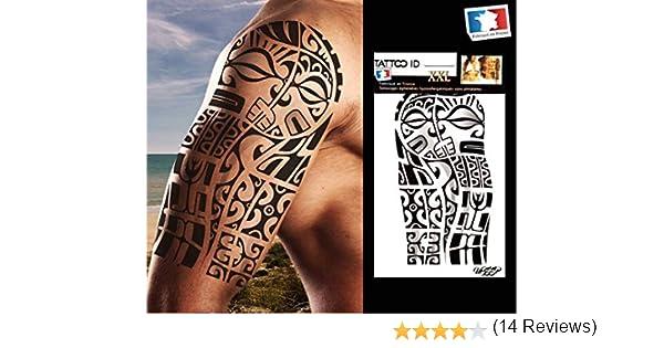 Tatouage Ephemere Temporaire Homme Bras Marquisien 2 Tribal Polynesien Maori Tattoo Id Xxl Hypoallergenique Fabrique En France 1 Planches 22cm X 14 5cm Homme Femme Bazis Az
