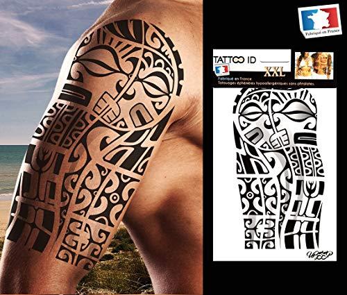 Tattoo ID XXL Temporäres Tattoo, marquesianisches Motiv, Maori-Tribal, groß, hypoallergen, hergestellt in Frankreich, 22cm x 14,5cm Herren ()